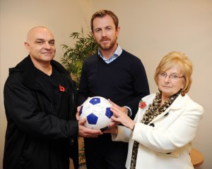 Pam Allsopp with son Richard and Blues manager Gary Rowett